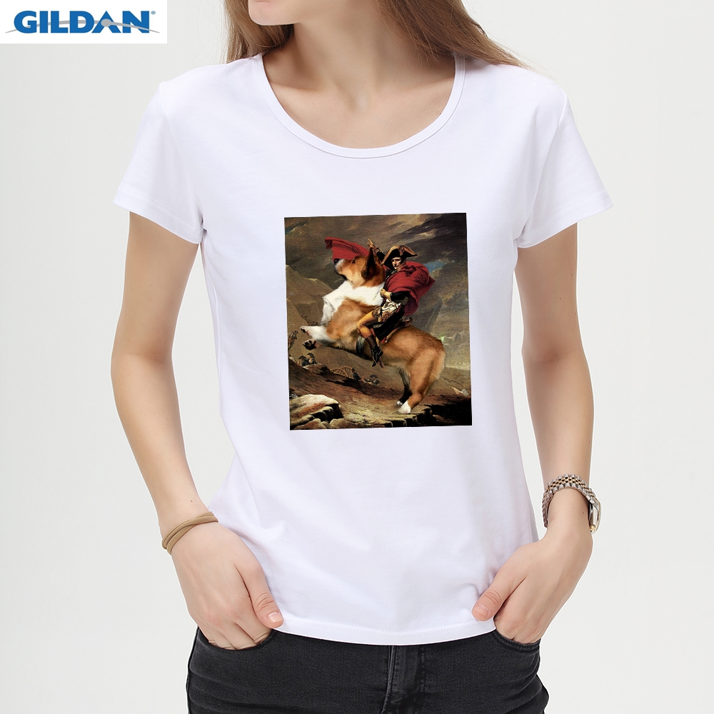 Obliging Napoleon Rides Corgi/dinosaur Printed Short Sleeve Men T-shirt Lady Cool Design Tops Novelty Tees Customed T Shirt C40 High Standard In Quality And Hygiene Men's Clothing