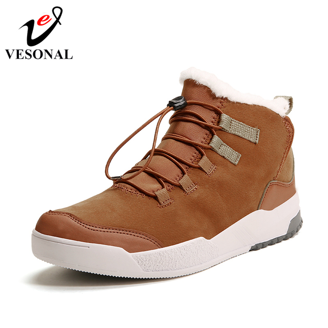 387a7276ec4 US $22.79 48% OFF|VESONAL Winter Boots For Men Fur Warm Snow Male Shoes  Adult Walking Rubber Fashion Casual Pu Leather Ankle Boots Brand  Footwear-in ...