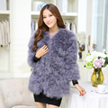 2015 Natural ostrich feather fur coat in the long coat gray pink Beige winter coat