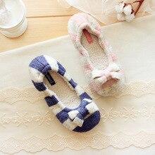Hot Sale Warm Soft Sole Woman Indoor Floor Shoes Autumn Winter Home Shoes Women Crochet Bowtie Stripe Cotton Shoes