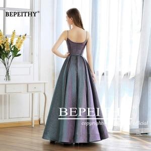 Image 2 - Abiti Da Cerimonia Da Sera A line Evening Dress Long 2020 Vestido De Festa Cheap Prom Dress Gown Elegant Glitter Fabric New