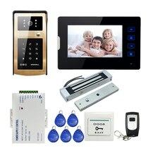 FREE SHIPPING 7″ Touch Monitor Video Door Phone Intercom System Metal Waterproof RFID Keypad Doorbell Camera 180kg Magnetic Lock