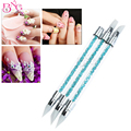 3pcs/set Silicone Head Nail Brush Pencil With Rhinestone Acrylic Handle Nail Art Brushes Manicure Tools