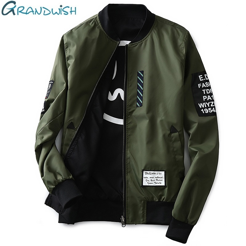 Grandwish Bomber Jacket Men Pilot con parches Green Both Side Wear Thin Pilot Chaqueta de bombardero Hombres Wind Breaker Jacket Men, DA113