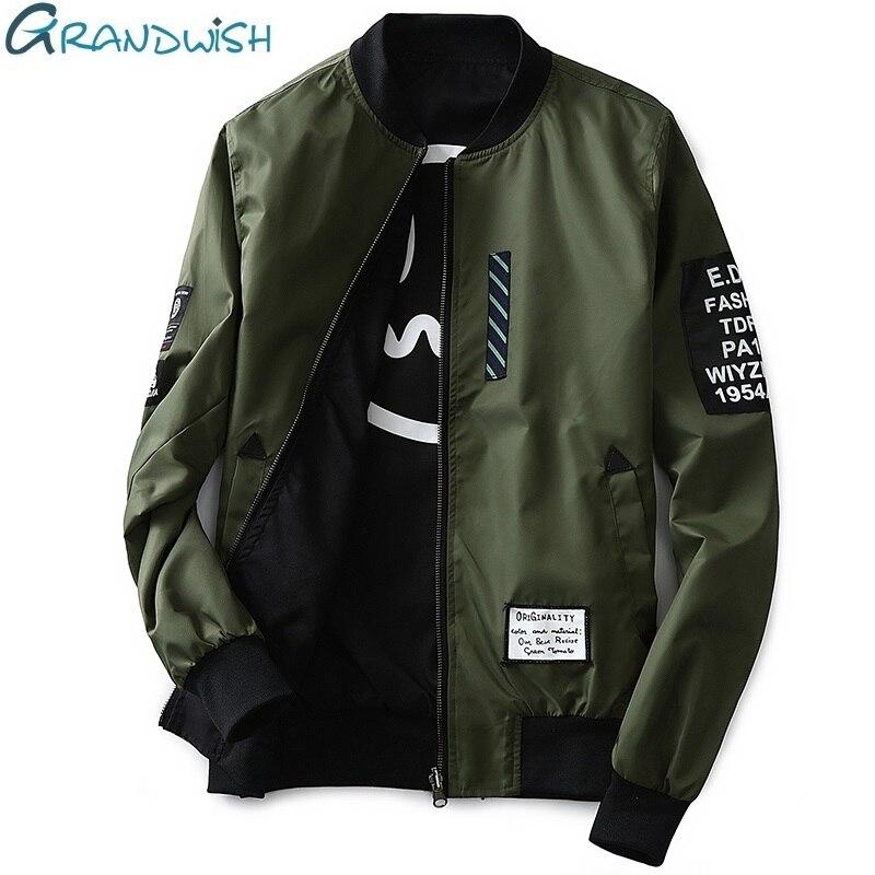 Grandwish Bomber Jacket Men Pilot with Patches Green Both Side Wear Thin Pilot Bomber Jacket Men Wind Breaker Jacket Men,DA113