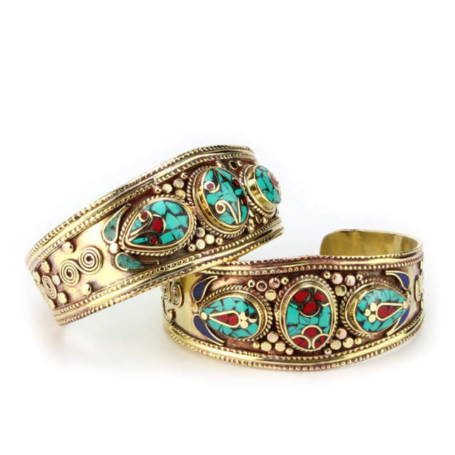 BB-432 Tibetan jewelry Indian colorful Bohemian fashion Metal bangle brass inlaid turquoise Coral bangle