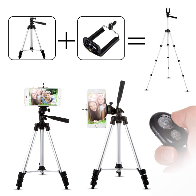 43 inch Tripod for Phone Lightweight Portable Universal Mobile Phone Tripod Holder For iPhone Samsung Cell Phone Camera
