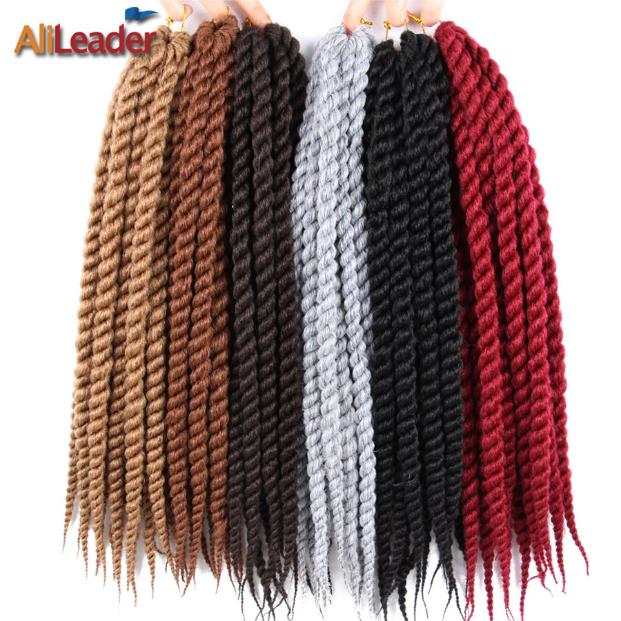Alileader 12 18 22Inch Crochet Braids Hair Extensions Havana Mambo Pre Twist Hair 12 Root/Pack Synthetic Braiding Hair For Women