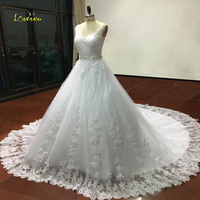 New Fashionable Crystal Elegant Long A Line Wedding Dress 2016 Backless Beading Appliques Vintage Bride Dresses