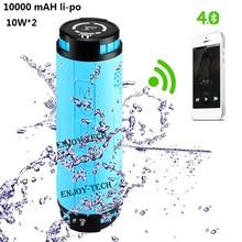 10000 mAH Li-po altavoz bluetooth inalámbrico para bicicleta deportes al aire libre 10 W * 2 altavoz subwoofer portátil a prueba de agua para android iphone