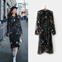 2018 VIMI Designer Newest Fashion women dress Autumn casual style long dresses Clusters of stars print Ankle Length full dresses