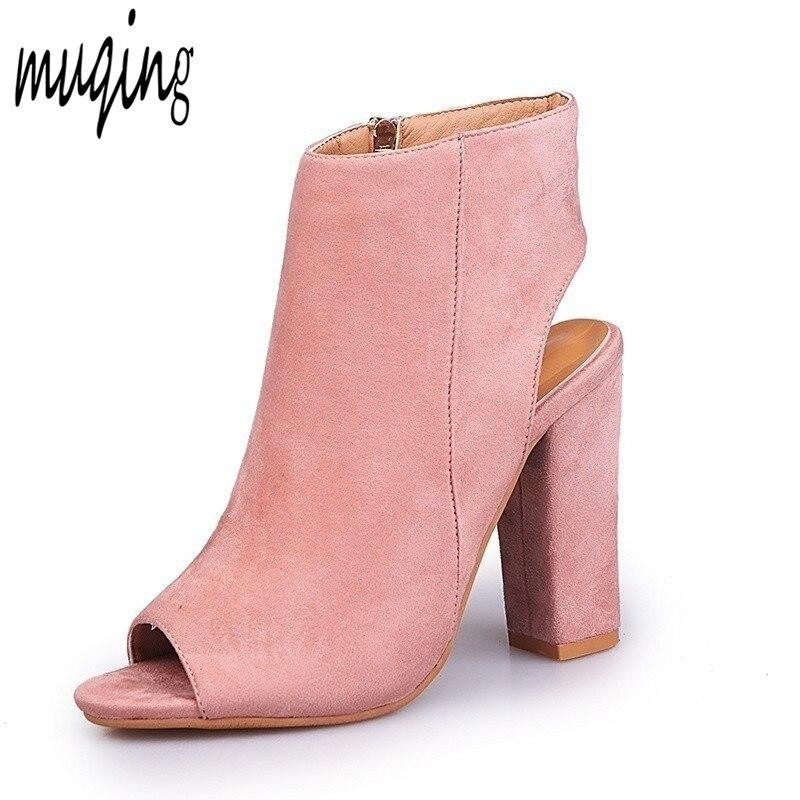 Muqing Для женщин замшевые ботильоны квадратный каблук открытый носок с открытым носком Высокие каблуки стильные Сандалии для девочек Slingback Zip-Up 7n0039