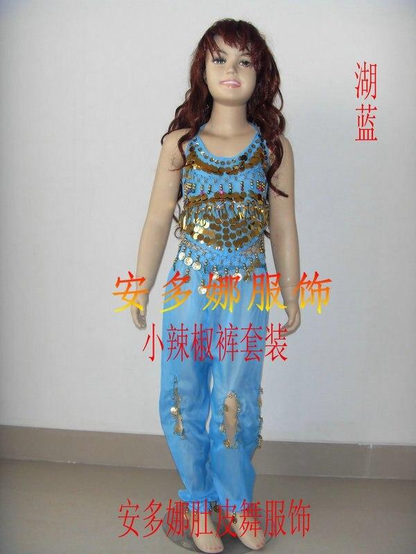 Танец живота костюм комплект Топ и Штаны Fit Детская высота 90-130 см, дети От 6 до 13 лет 6 видов цветов Выберите - Цвет: Light blue