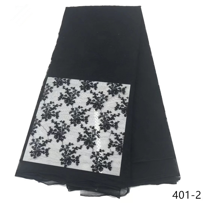 Lace Fabric  black French Nigerian High Quality African Tulle 401