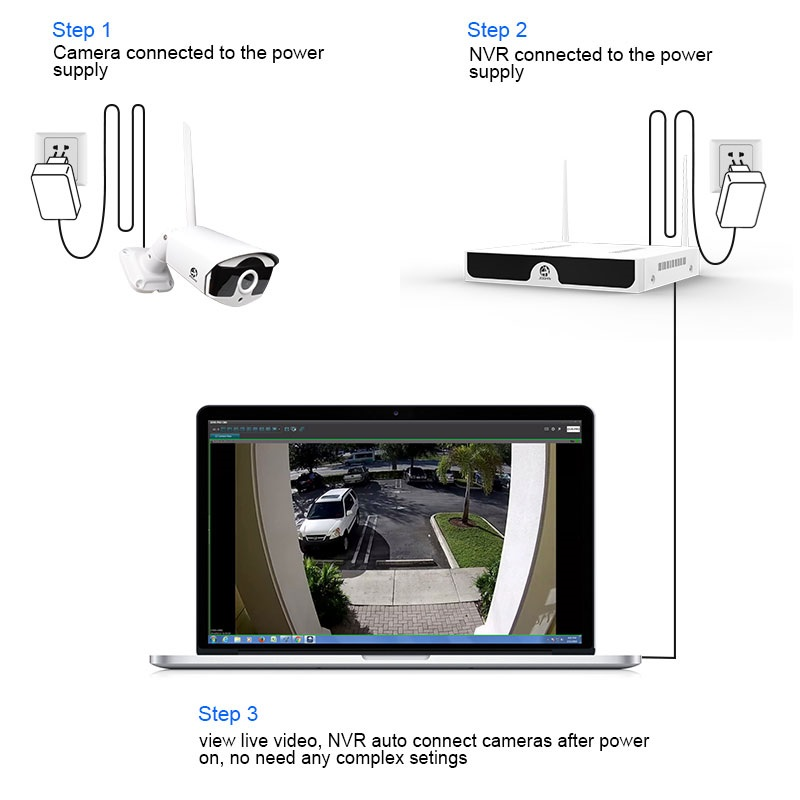 Image 2 - Kit CCTV Wireless Video Surveillance H.265 8CH NVR 4 Cameras Home Security  System DVR Kit Outdoor IP Camera CCTV Camera System-in Surveillance System from Security & Protection