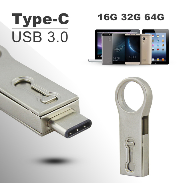 OTG Type C USB 3.0 Flash Drive 32GB 16GB 64GB Pen Drive Tablet Smartphone Mini USB Memory Stick Type-C 3.1 Pendrive Double Plug