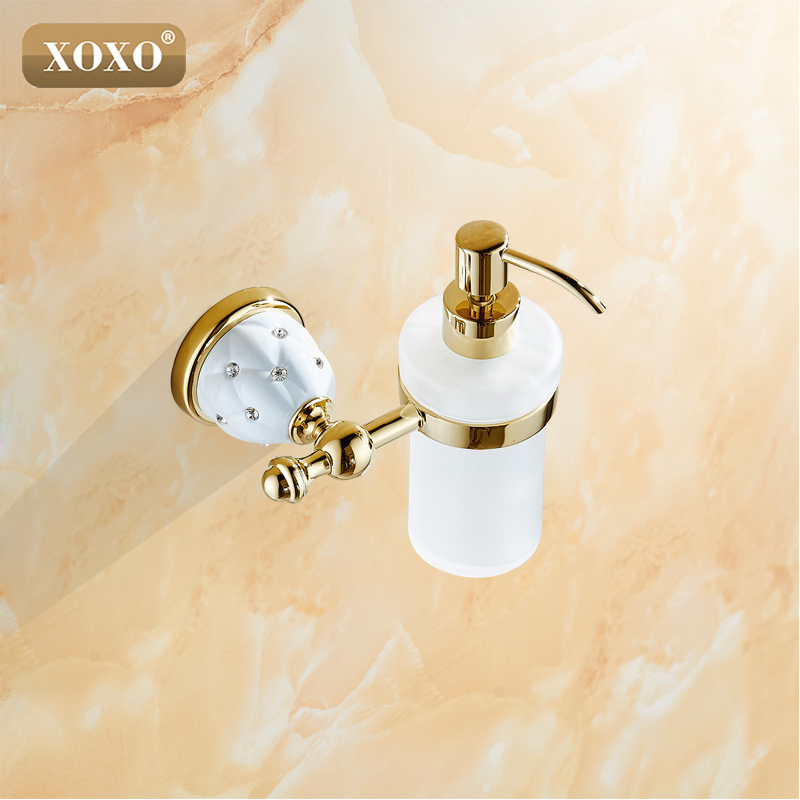 XOXO Luxury Wall Mounted Liquid Soap Dispenser With Gold Frosted Glass Container bottle Bathroom products Accessories