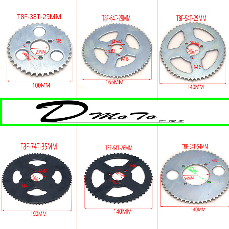 38 44 54 64 74 Tooth <font><b>38T</b></font> 44T 54T 64T 74T T8F 35MM Rear <font><b>Sprocket</b></font> Mini Moto ATV Quad Dirt Pit Pocket Bike Cross 47cc 49cc Parts image
