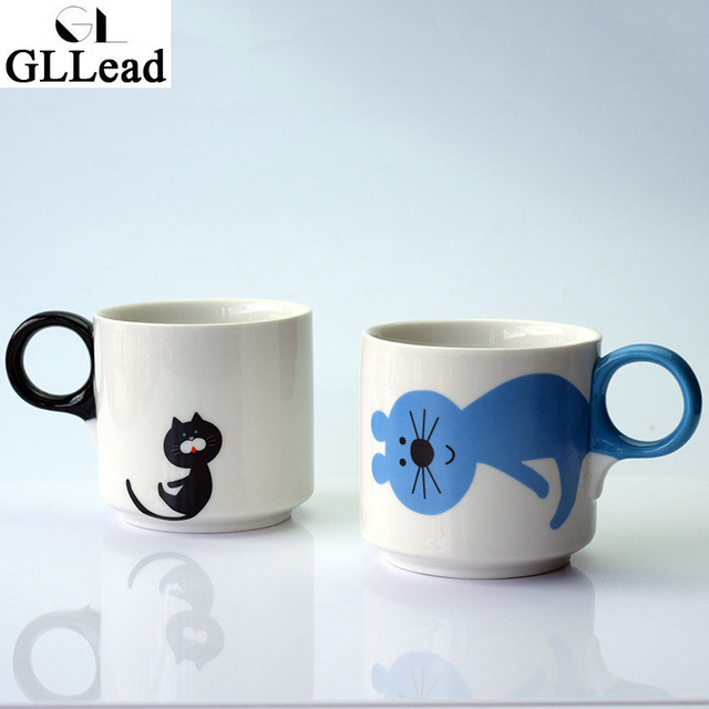 Gllead Fashion Cute Cartoon Cat Coffee Mug Creative Ceramic Tea Milk Breakfast S Mugs Porcelain