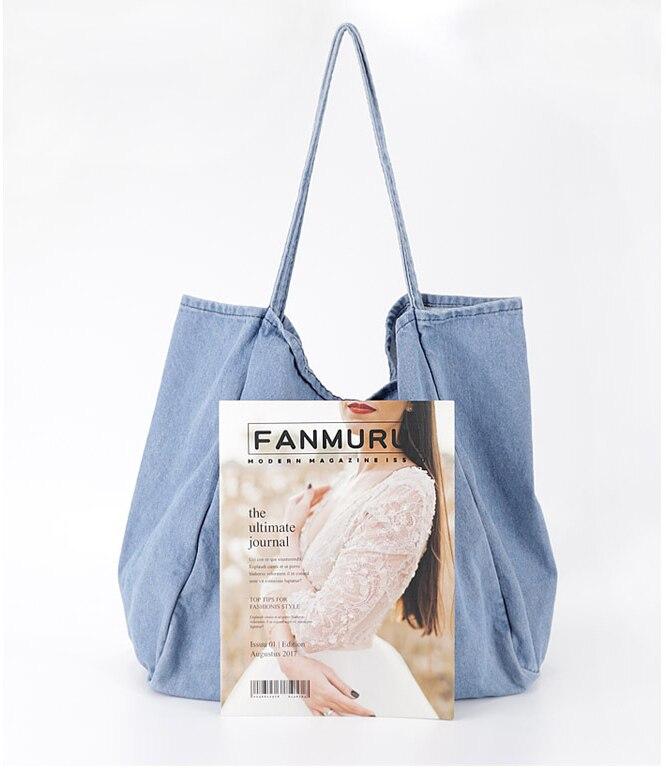 Denim Big Capcity Tote Bag Women Fashion Classical Handbag Female Fabric Casual Leisure Beach Summer Oversize Top-handle Purse 1