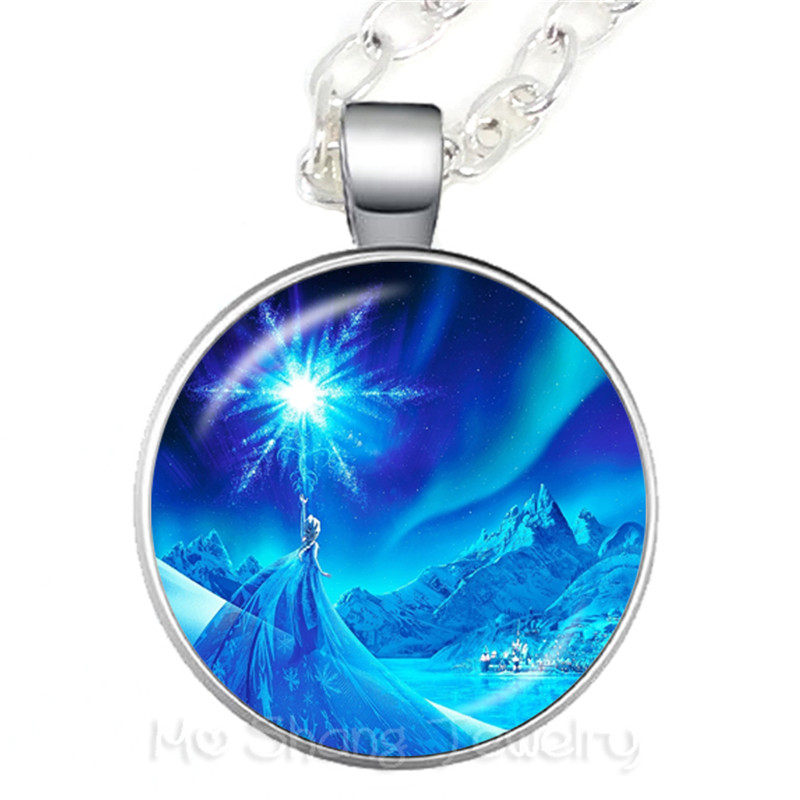 Princess ELSA Anna Silver Coated Glass Pendant Necklace Popular In Europe And America Sweaterchain Gift For Children Shipping