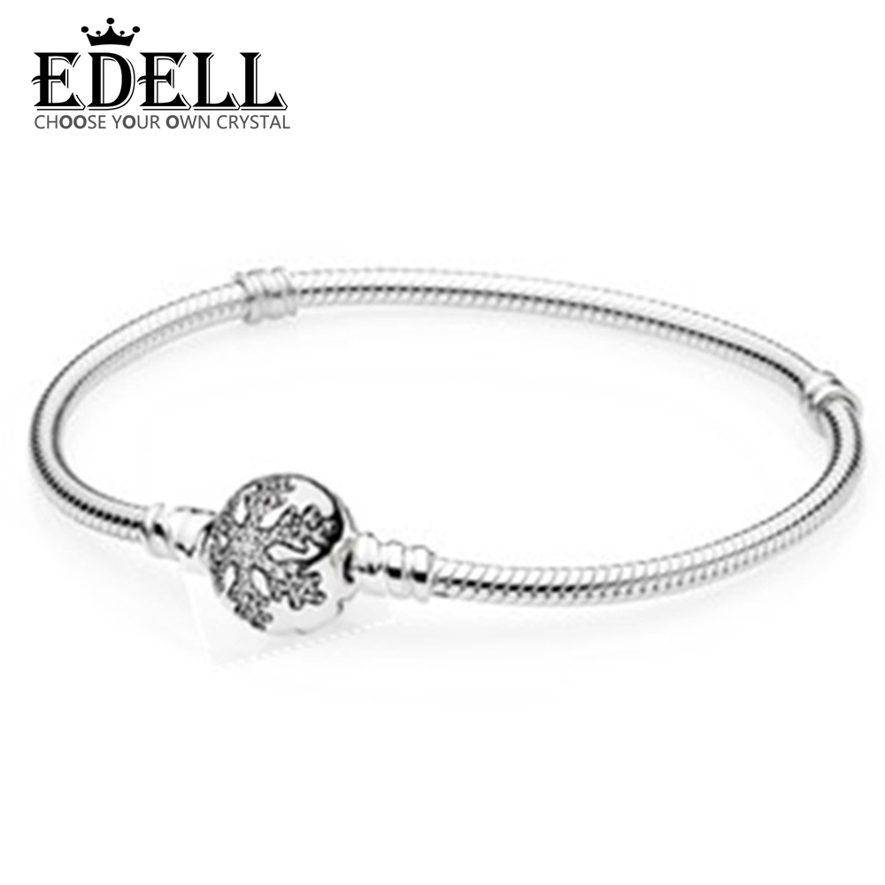 EDELL Love Snake Chain Silver Color Fit Original Charm Bracelet Bangle Charm Bead For Women Gift Free Package Mail zeg high quality pan 1 1 original copy of the logo heart bracelet chain chain link chain plated rose gold free package mail