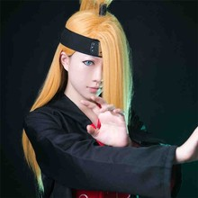 NARUTO Deidara 60cm Long Straight Golden Yellow Heat Resistant Cosplay Costume Wig