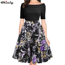 Oxiuly Summer Autumn Floral Print Patchwork Dress Women Off Shoulder Sexy Party Vestidos Female Slash Neck Casual Bodycon