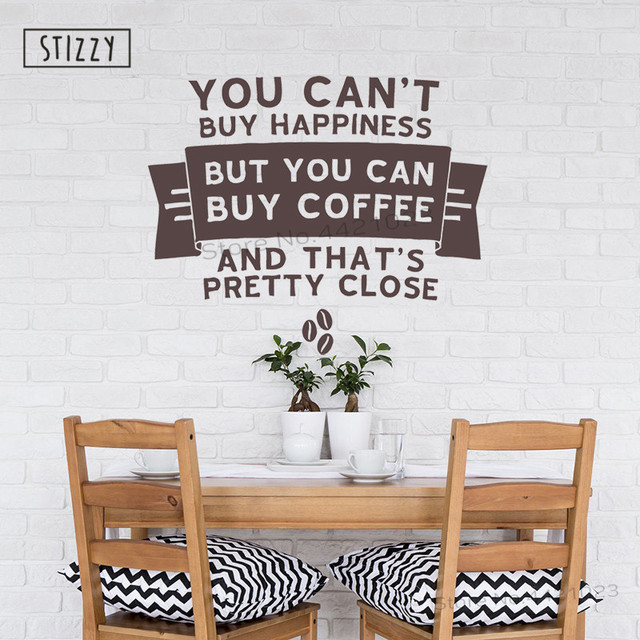 Stizzy Wall Decal Coffee Logo Design Sticker Window Cafe Decoration Modern Cup Kitchen Decor Home Diy B501