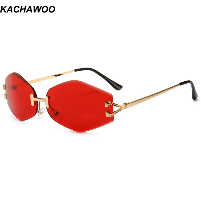 24c0a0e0ae6 Kachawoo vintage rimless sunglasses men rhombus red lens oval sun glasses  for women 2019 summer accessories male gift