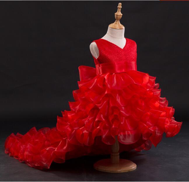 Robes de fille de fleur rouge en mousseline de soie Tailing Pageant robes fille robes d'été pour les mariages fête anniversaire robe de Piano avec grand arc