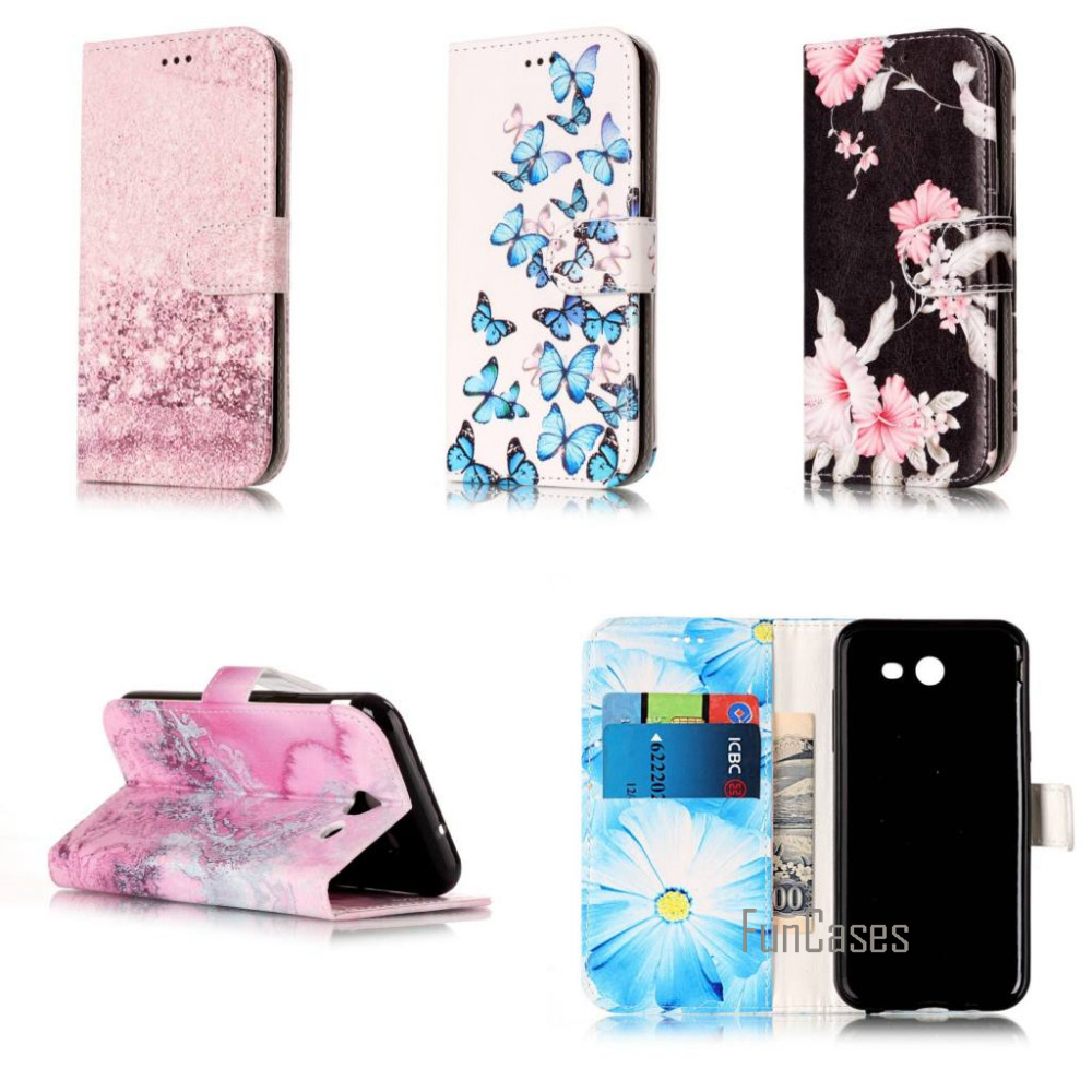 Fashion Pink Marble Flower Wallet card PU Leather stand case cover For Samsung Galaxy J3 ...