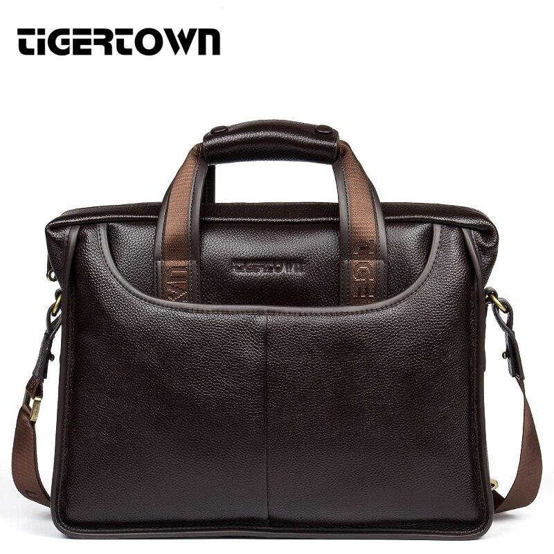 Bagaj ve Çantalar'ten Üstten Saplı Çanta'de TIGERTOWN Marka Yeni erkek 100% Hakiki Deri Inek Derisi Çanta Messenger kol çantası Evrak Çantası laptop çantası Çanta'da  Grup 1