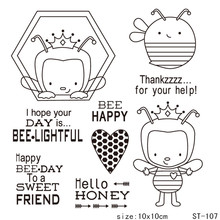Cute bee Transparent Clear Silicone Stamp/Seal for DIY Scrapbooking/Photo Album Decorative Card Making Stamps