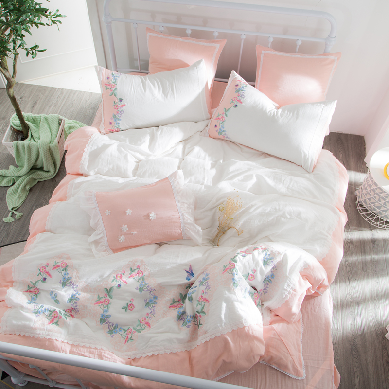 4/7 pieces pink Elegant embroidery Duvet Cover flat bed Sheets +Pillowcase Super King Queen Size cotton yard Bedding Set