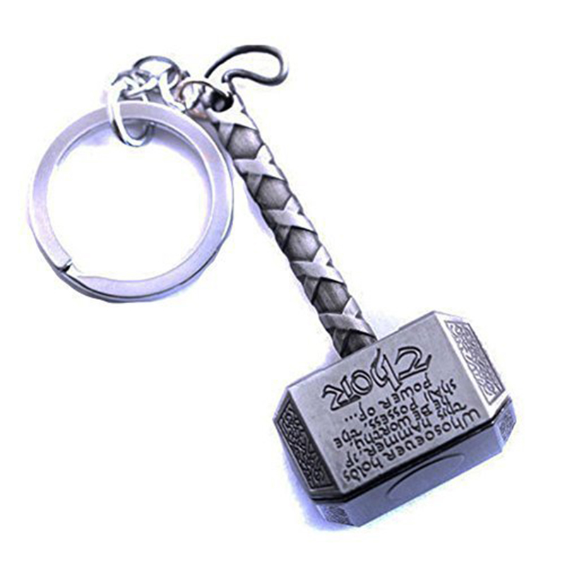 Marvel Avengers Thor's Hammer Mjolnir Keychain Pewter Keyring Toy Thor Chain Ring Key Men Jewelry Fans Accessory