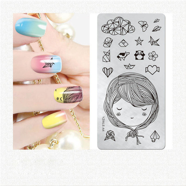 Rectangle Nail Art Deco Beauty Template Origami Lace Flower Leaves