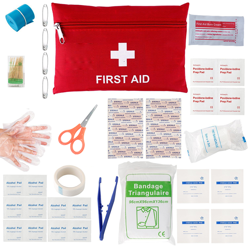 41pcs/Pack Red Mini First Aid Kit Wilderness Kit Medical Rescue Bag Waterproof Camping Hiking Travel Emergency First Aid red 2l portable outdoor waterproof first aid bag medical life saving bag camping travel disaster relief first aid kit