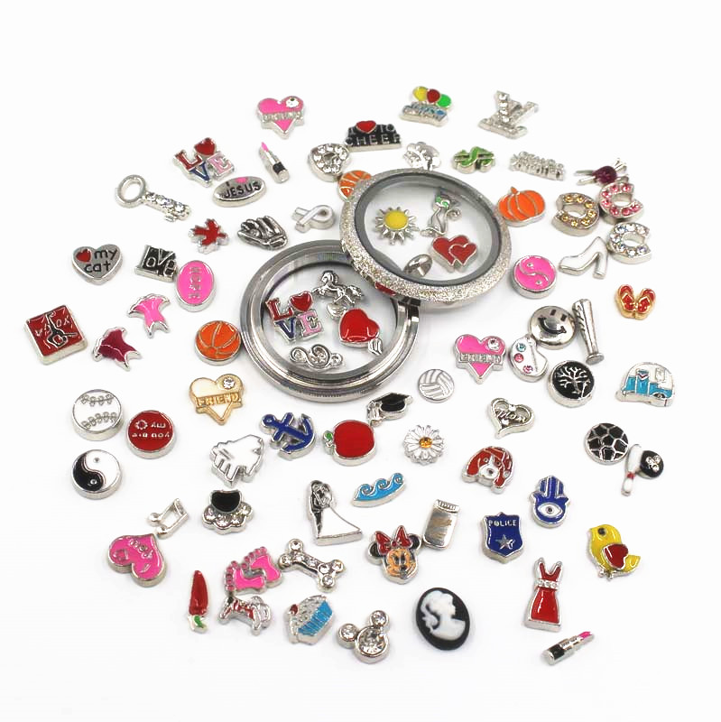 Hot Sale 10pcs/lot Metal Enamel Sewer Sewing Floating Charms For Living Glass Memory Floating Lockets Necklace DIY Jewelry