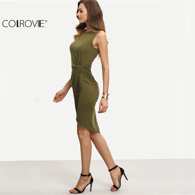 COLROVIE Female Army Green Sleeveless Knot Sheath Dress Asymmetrical Round Neck Sleeveless  Wrap Knee Length Dress