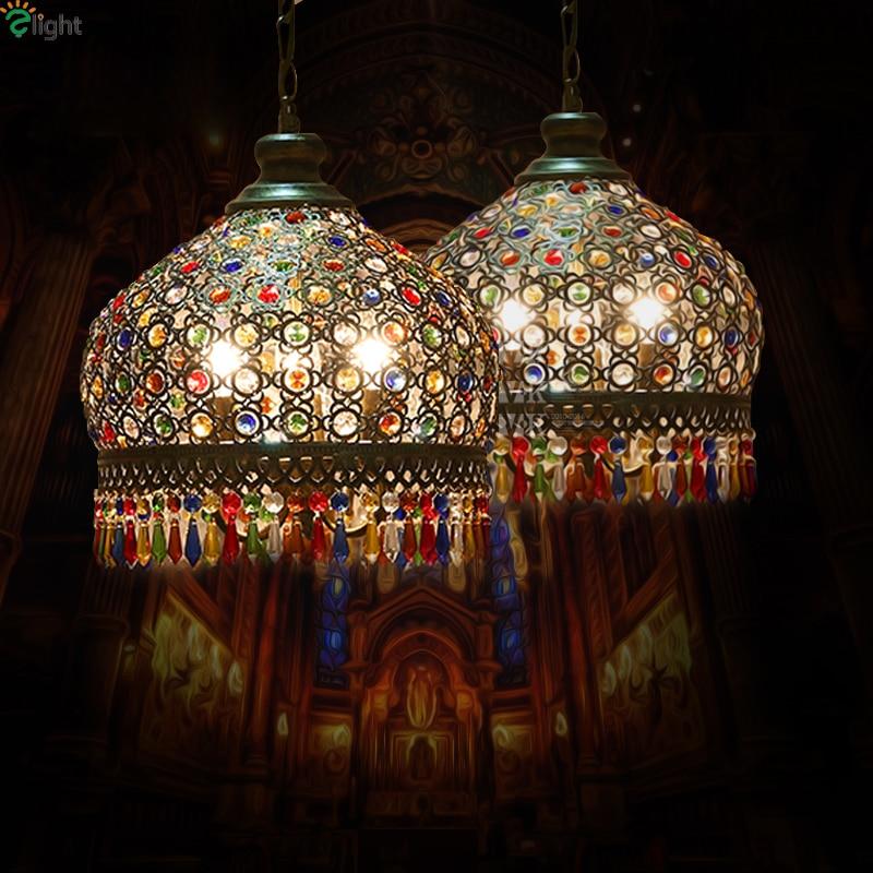 Bohemia Colorful Crystal Led Chandeliers Lighting Dining Room Bronze Metal Led Pendant Chandelier Lights Hanging Lamp Fixtures