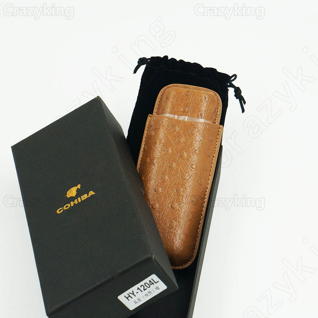 Piramides Ostrich Skin Style Leather Holder 2 Tube Travel Cigar Case Humidor
