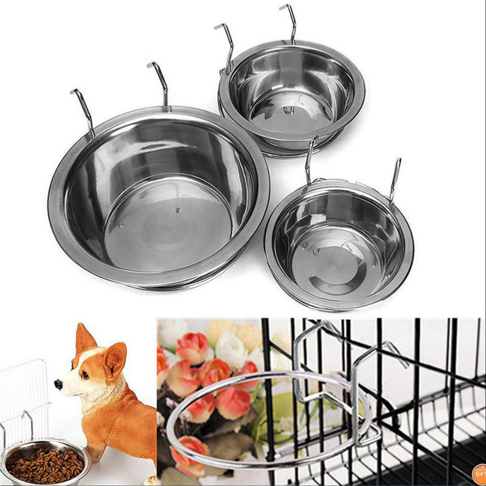 Stainless Steel Pet Dog Bowl Food Water Drinking Cage Cup Hanger Food Water Bowl Travel  ...