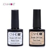CNHIDS 10ml 2 pçs/lote Unha Polonês Top Coat Base de Unha Conjunto Gel Um Passo Sealer Brilhante Manicure UV LED Soak Off Lacquer