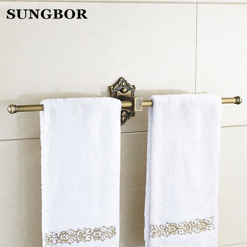 Bathroom accessories Antique brass single towel bar bathroom towel rack wall mounted antique bathroom towel bars HY-93814F aluminum wall mounted square antique brass bath towel rack active bathroom towel holder double towel shelf bathroom accessories