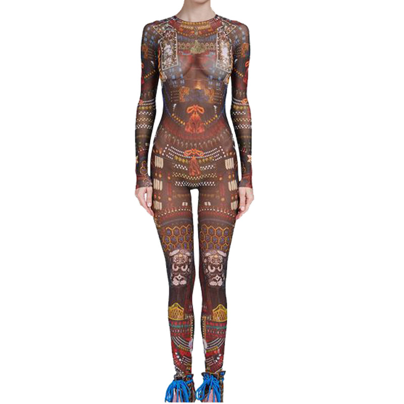 Free Shipping   Jumpsuit   Women Tribal Tattoo Printing Mesh Long Sleeve Sexy Bodysuit Celebrity Catsuit Playsuit Bodycon   Jumpsuit
