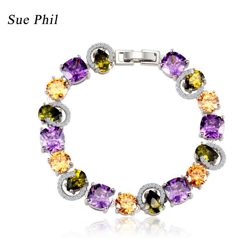 Sue Phil New 2018 Women Strand Bracelets Colorful Cubic Zirconia Copper lady's bracelets Drop Shipping