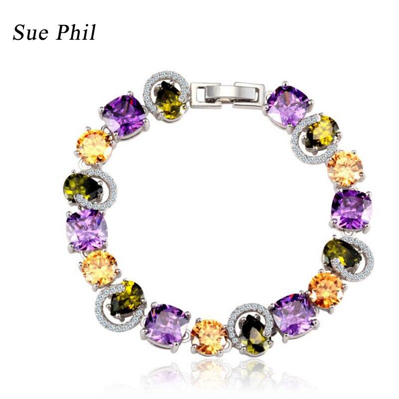 Sue Phil Nouveau 2018 Femmes Strand Bracelets Coloré Cubique Zircone Cuivre de dame bracelets Drop Shipping