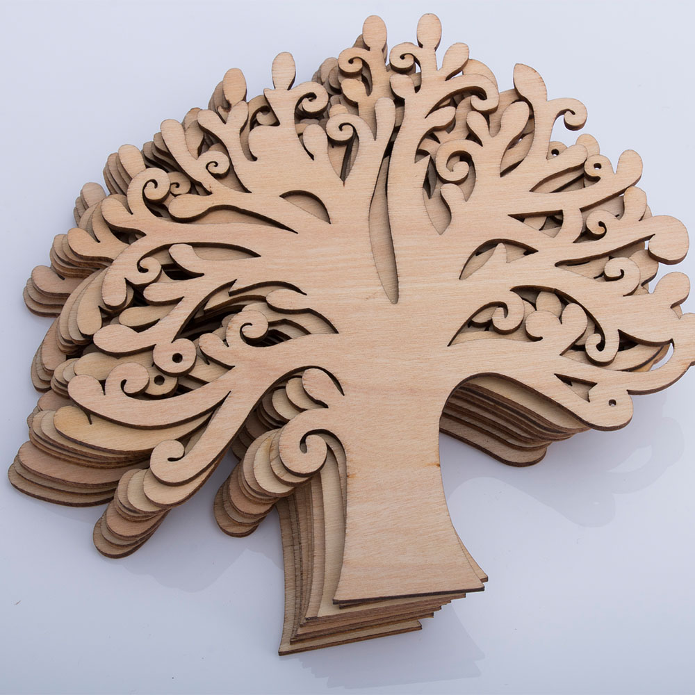 Wooden Autumn Tree Shape Craft Blank Wedding Guestbook Decoupage Family Novelty