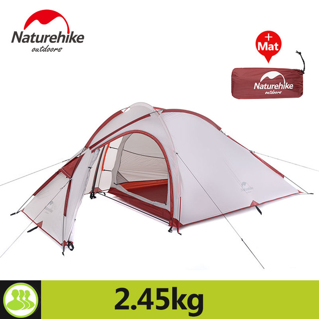 Naturehike 3 Person Camping Tent 210T Fabric Waterproof Double-Layer One Bedroom 3 Season Aluminum Rod Outdoor Tent